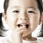 Healthy toddler snacking